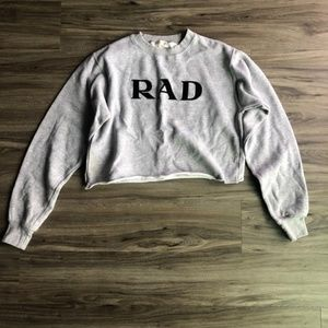 John Galt Grey Small 'Rad' Crop Sweater sz S